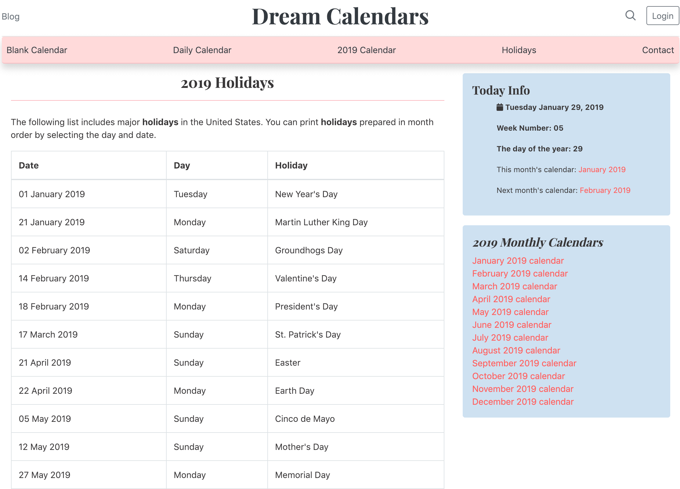 List of 2019 Holidays (US)