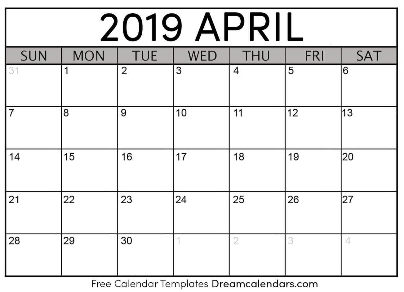 how to get a printed or printable calendar for april 2019