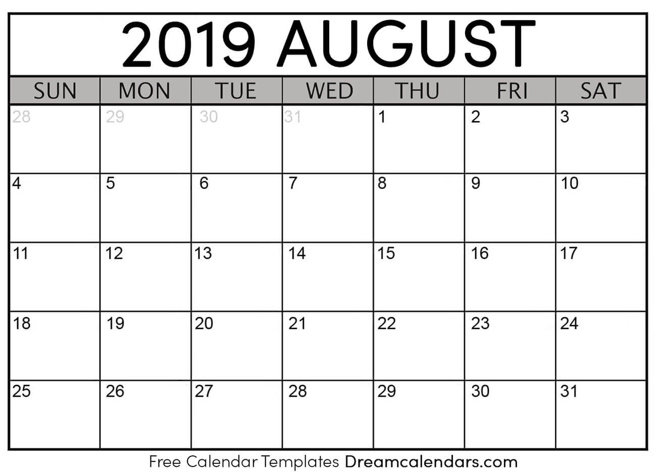 June July August 2019 Calendar Printable.Printable August 2019 Calendar