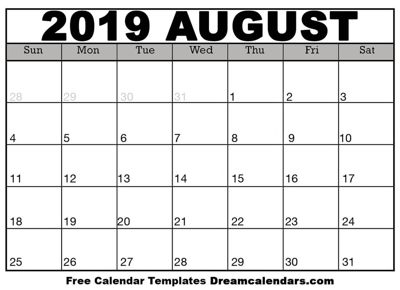 picture relating to Free Printable Calendar August referred to as Printable August 2019 Calendar