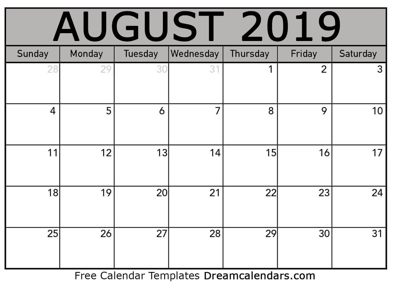 graphic relating to Free Printable Calendar August known as Printable August 2019 Calendar
