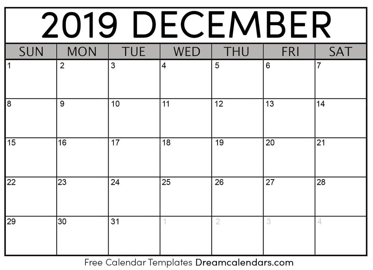 picture relating to Printable Monthly Calendar Dec identify Printable December 2019 Calendar