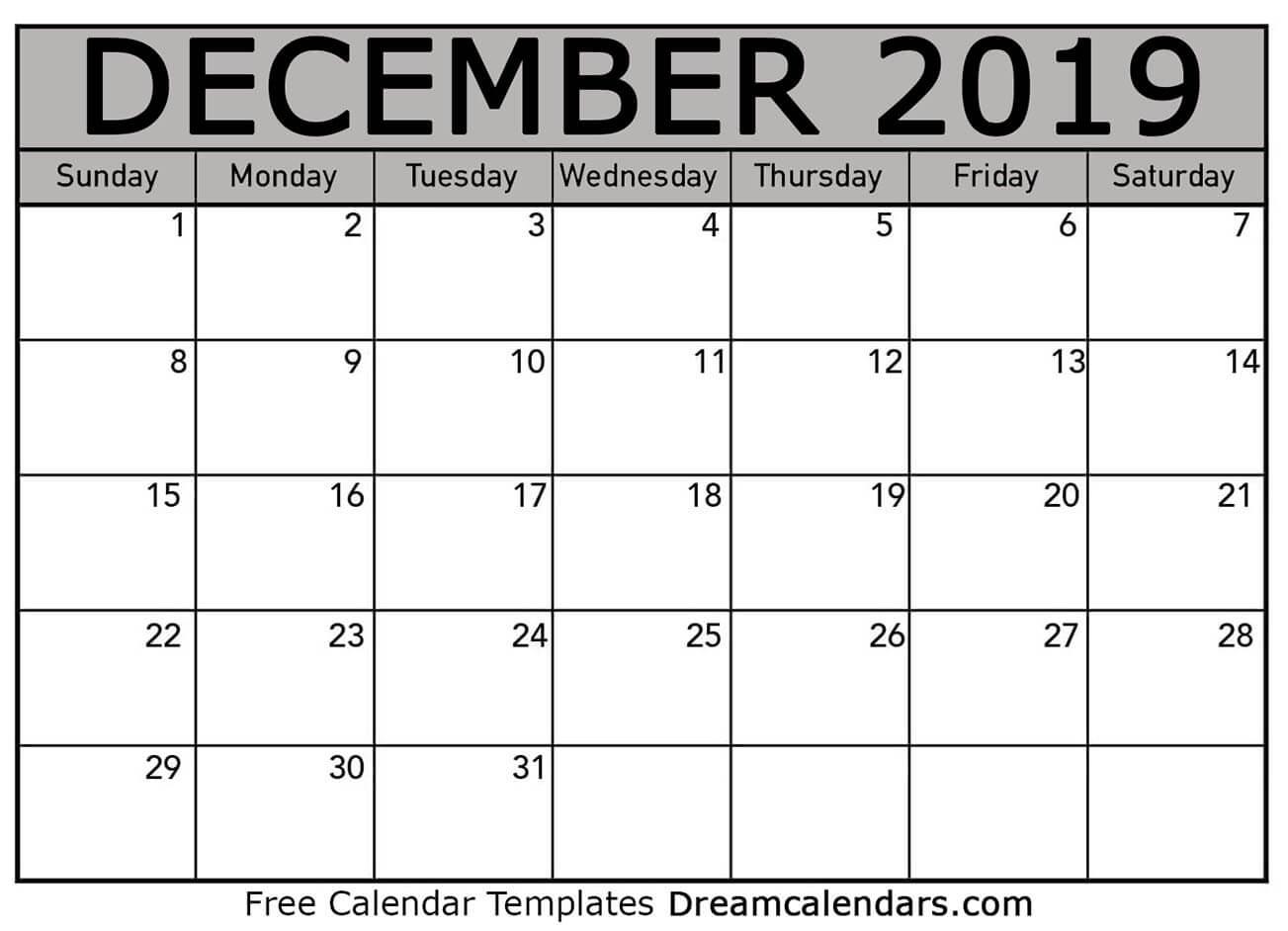 picture regarding December Printable Calendar Free called Printable December 2019 Calendar