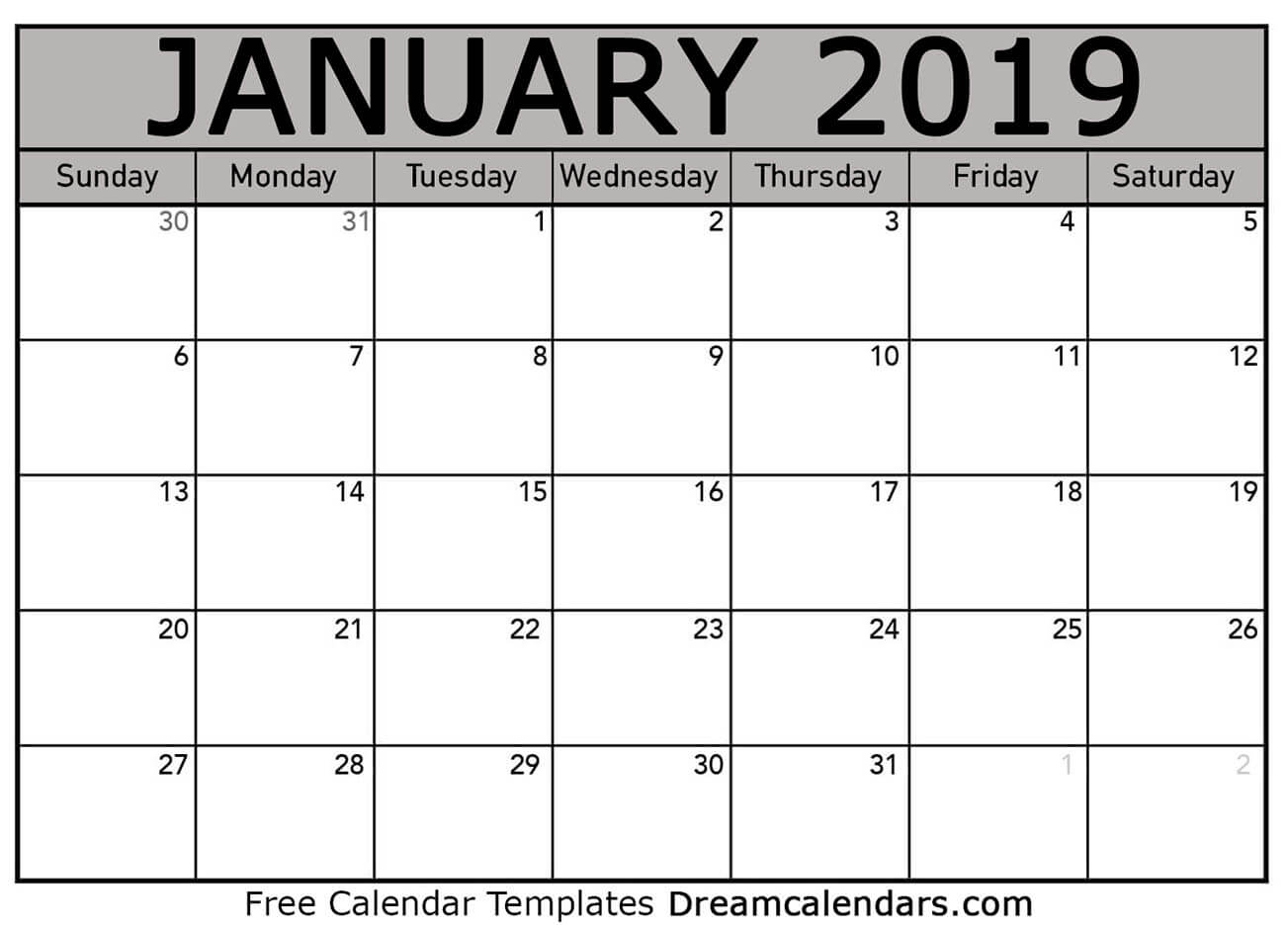 free blank january 2019 printable calendar