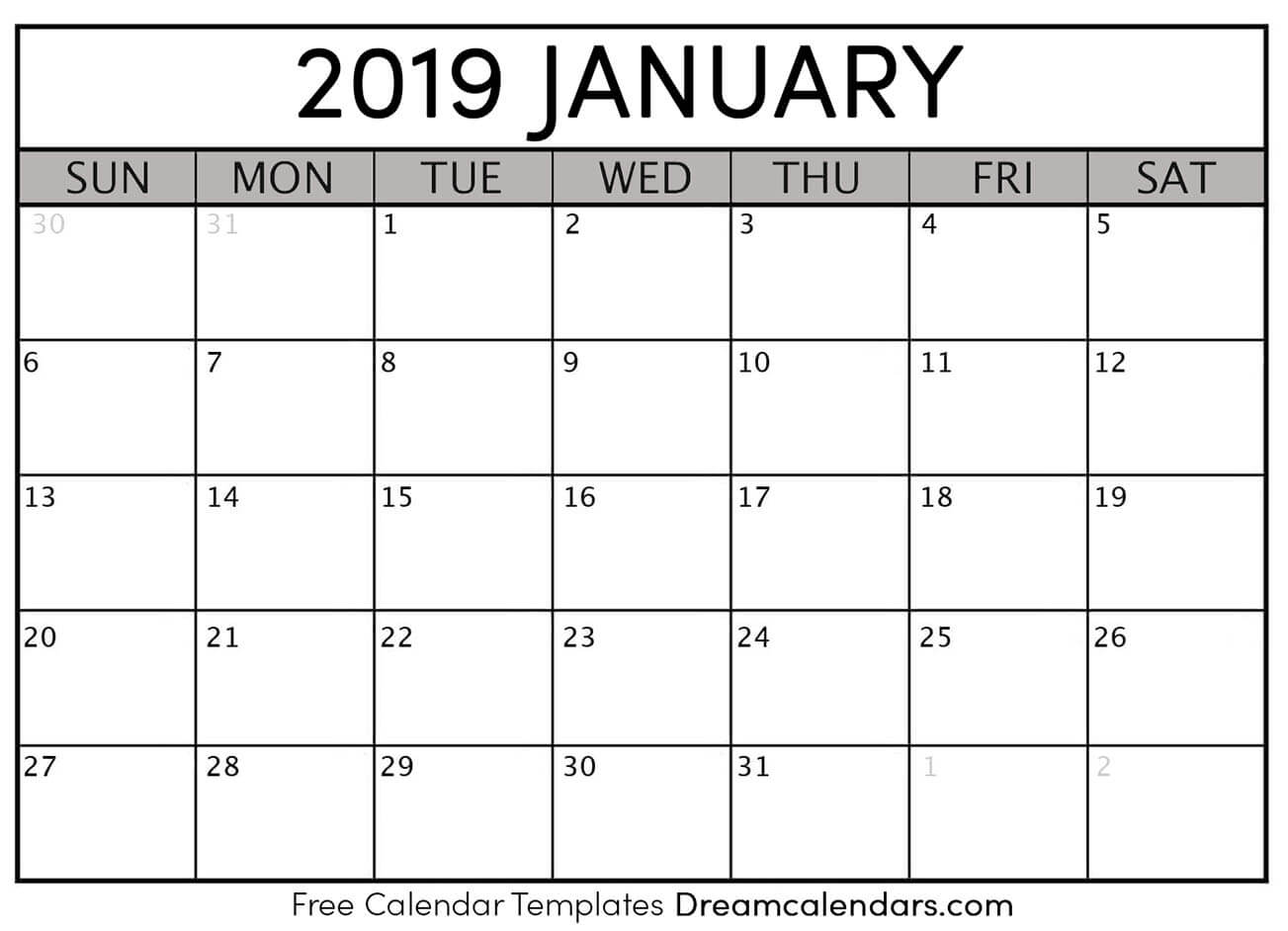 image about January Calendar Printable identified as Printable January 2019 Calendar