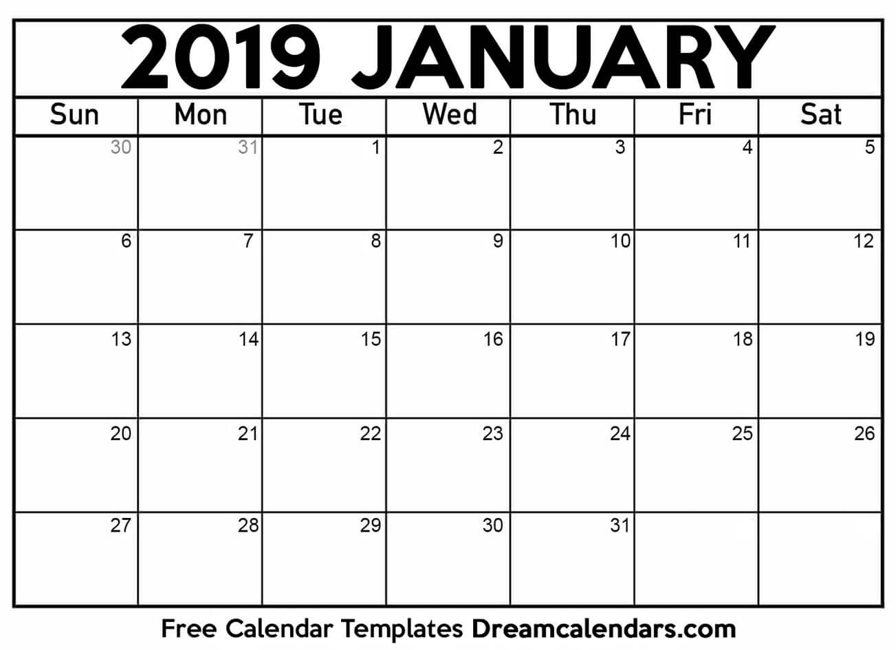 graphic about January Calendar Printable known as January 2019 Calendar Printable upon Printable Calendar