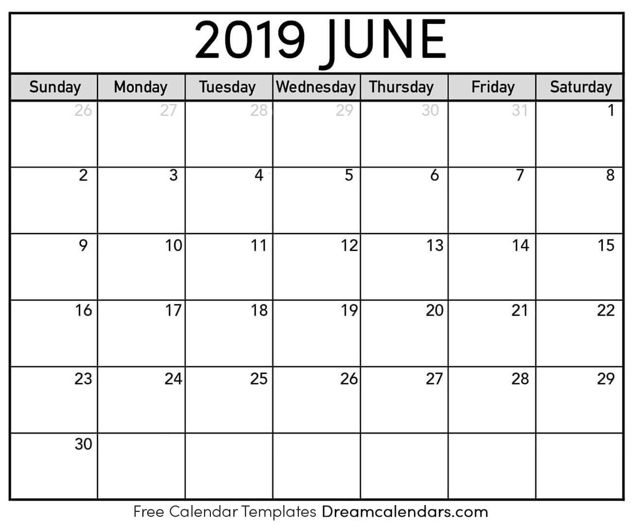 graphic about Printable June named Printable June 2019 Calendar