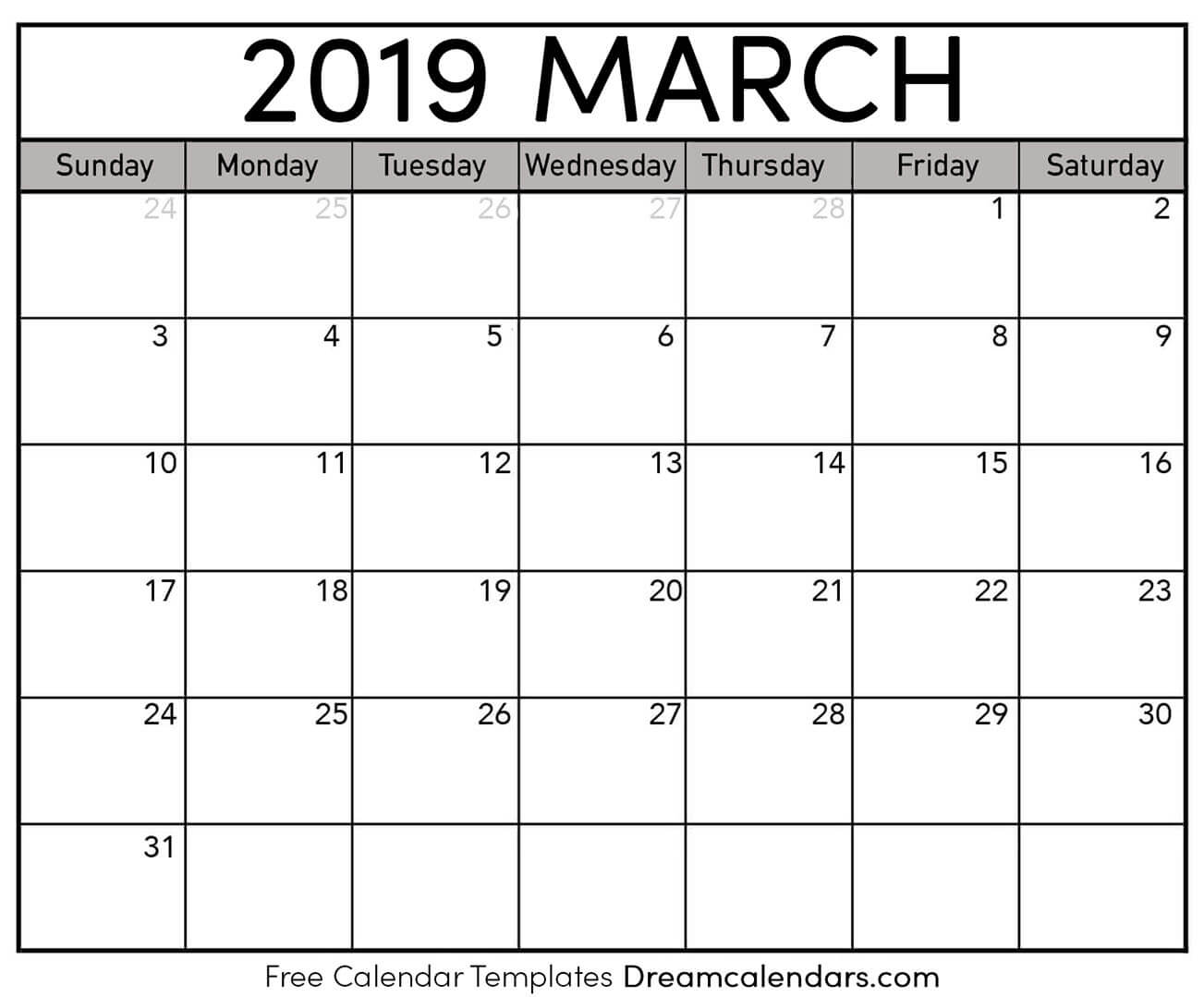 graphic relating to Free Printable March Calendar titled March 2019 Calendar