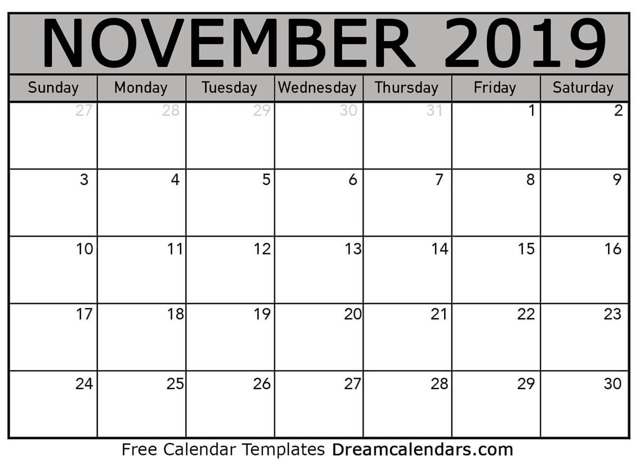 graphic regarding Printable Calendar November named Printable November 2019 Calendar