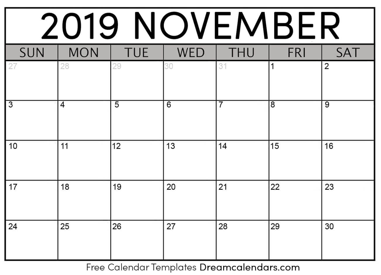 photo about November and December Calendar Printable identified as Printable November 2019 Calendar