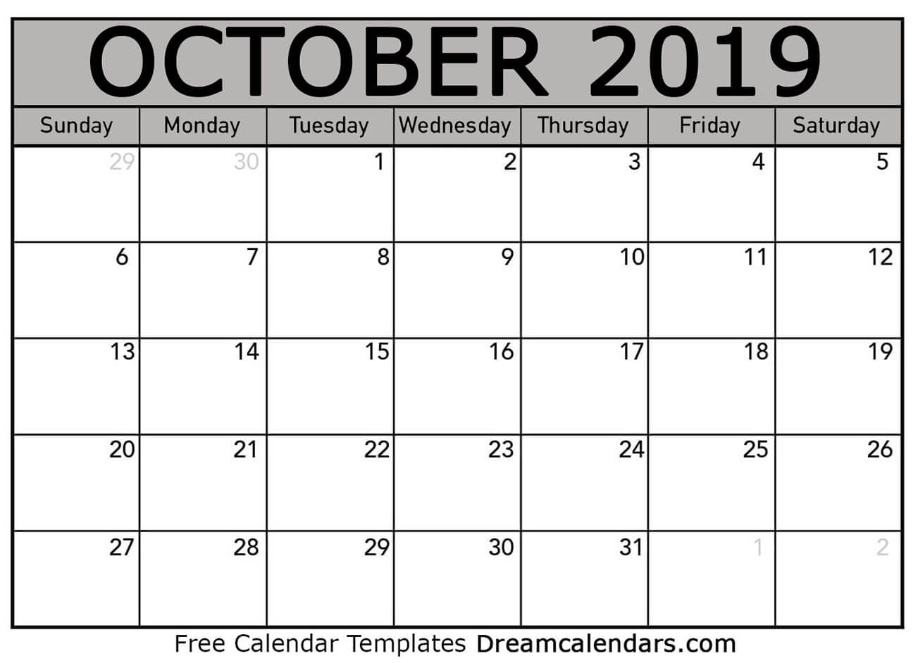 image relating to Printable Calendar October identify Printable Oct 2019 Calendar