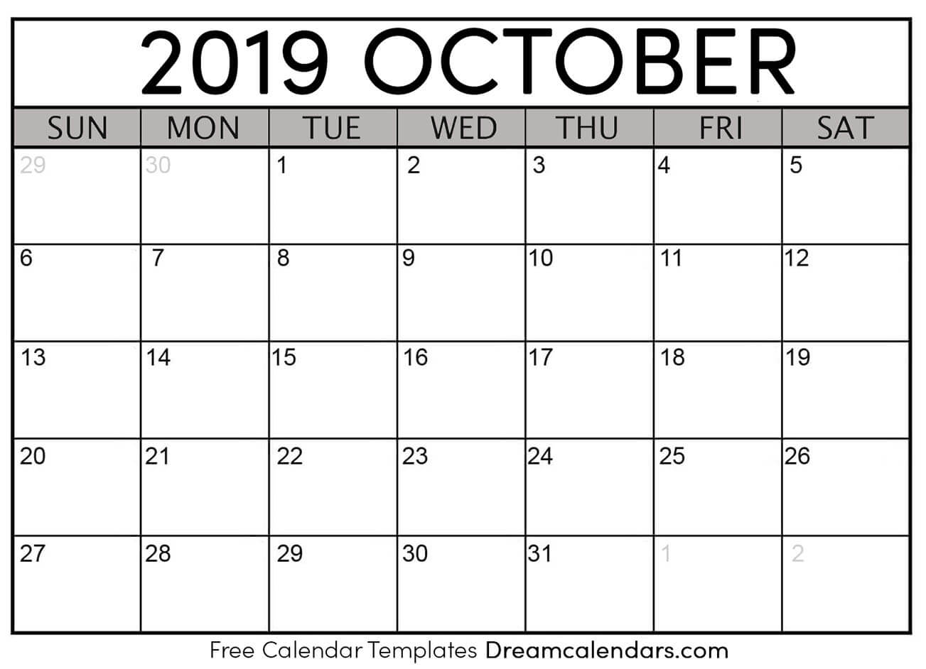 image relating to Printable Oct Calendar known as Printable Oct 2019 Calendar