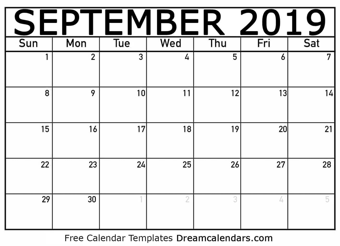 photo about Free Printable September Calendar known as Printable September 2019 Calendar