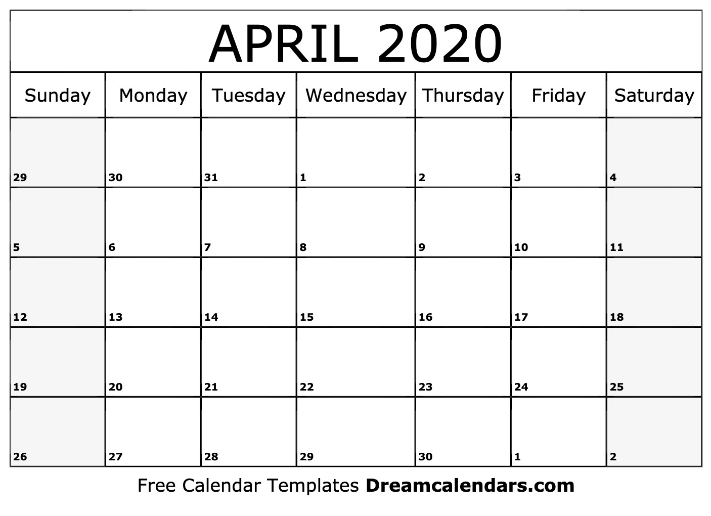 Calendar Template April 2020 Printable April 2020 Calendar