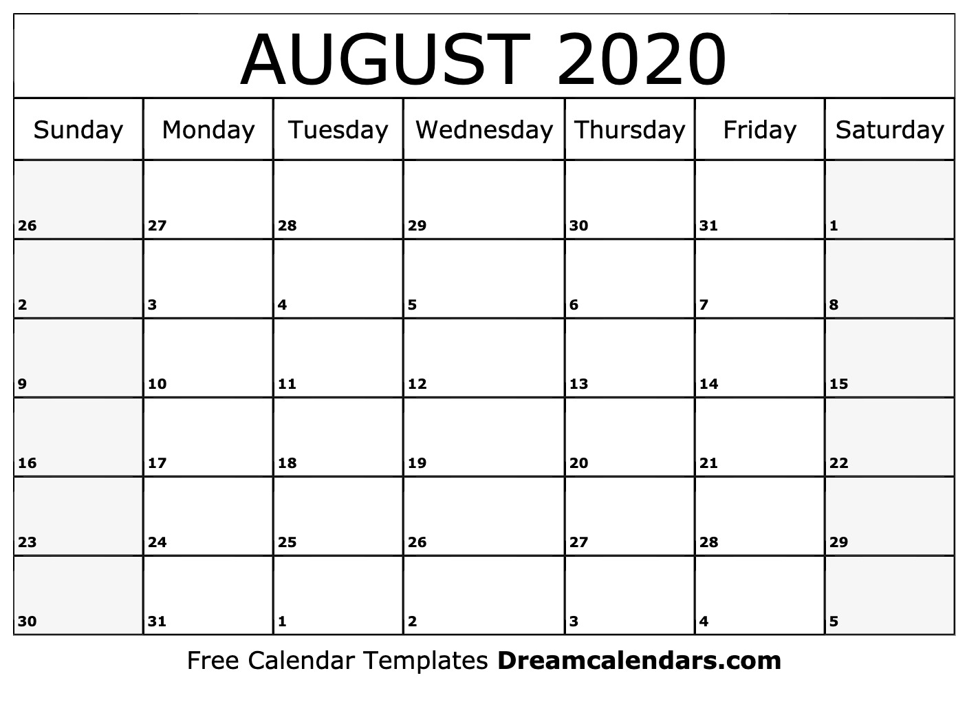 August 2020 Calendar Printable Printable August 2020 Calendar