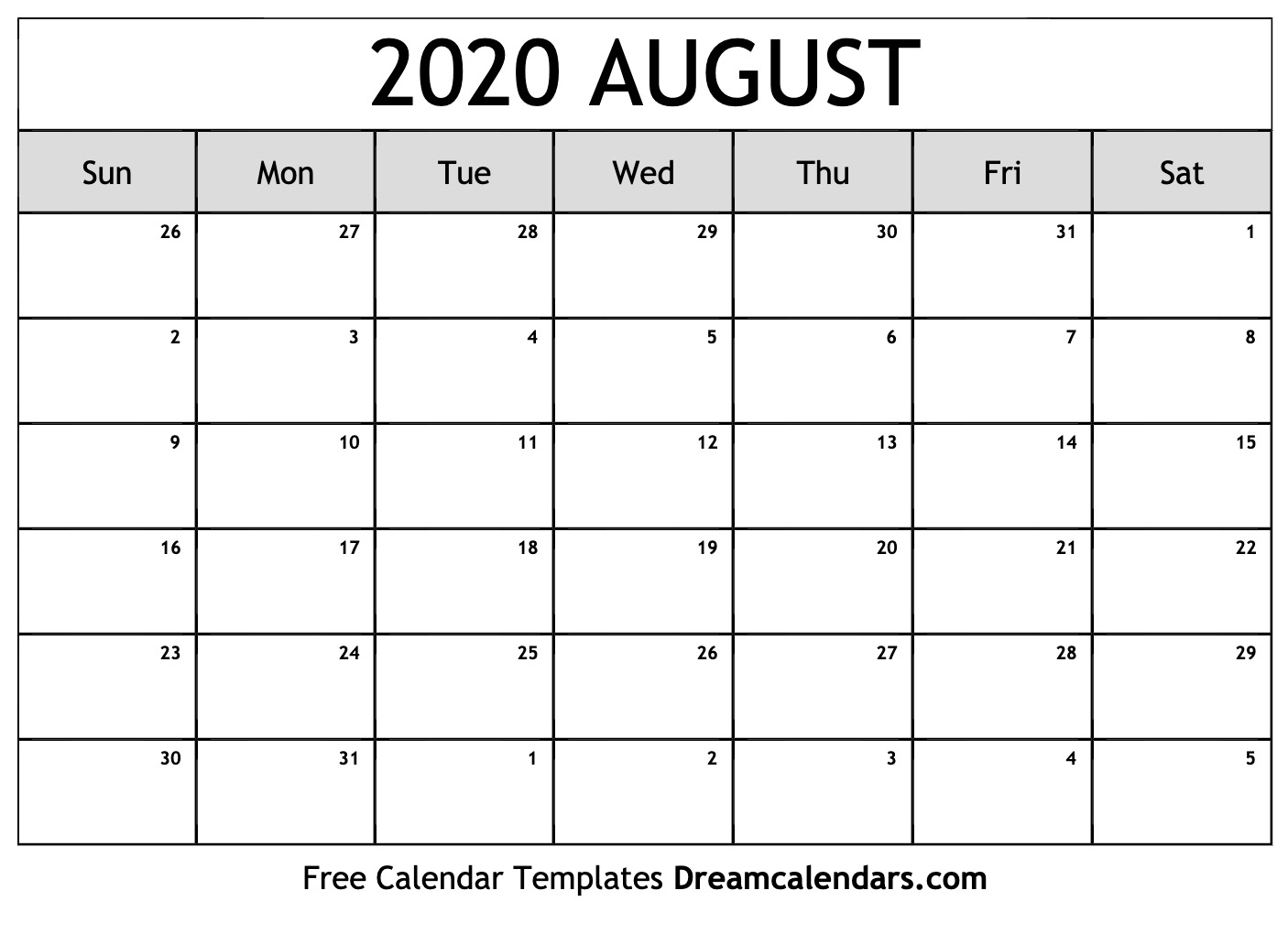 Blank Calendar August 2020.Printable August 2020 Calendar