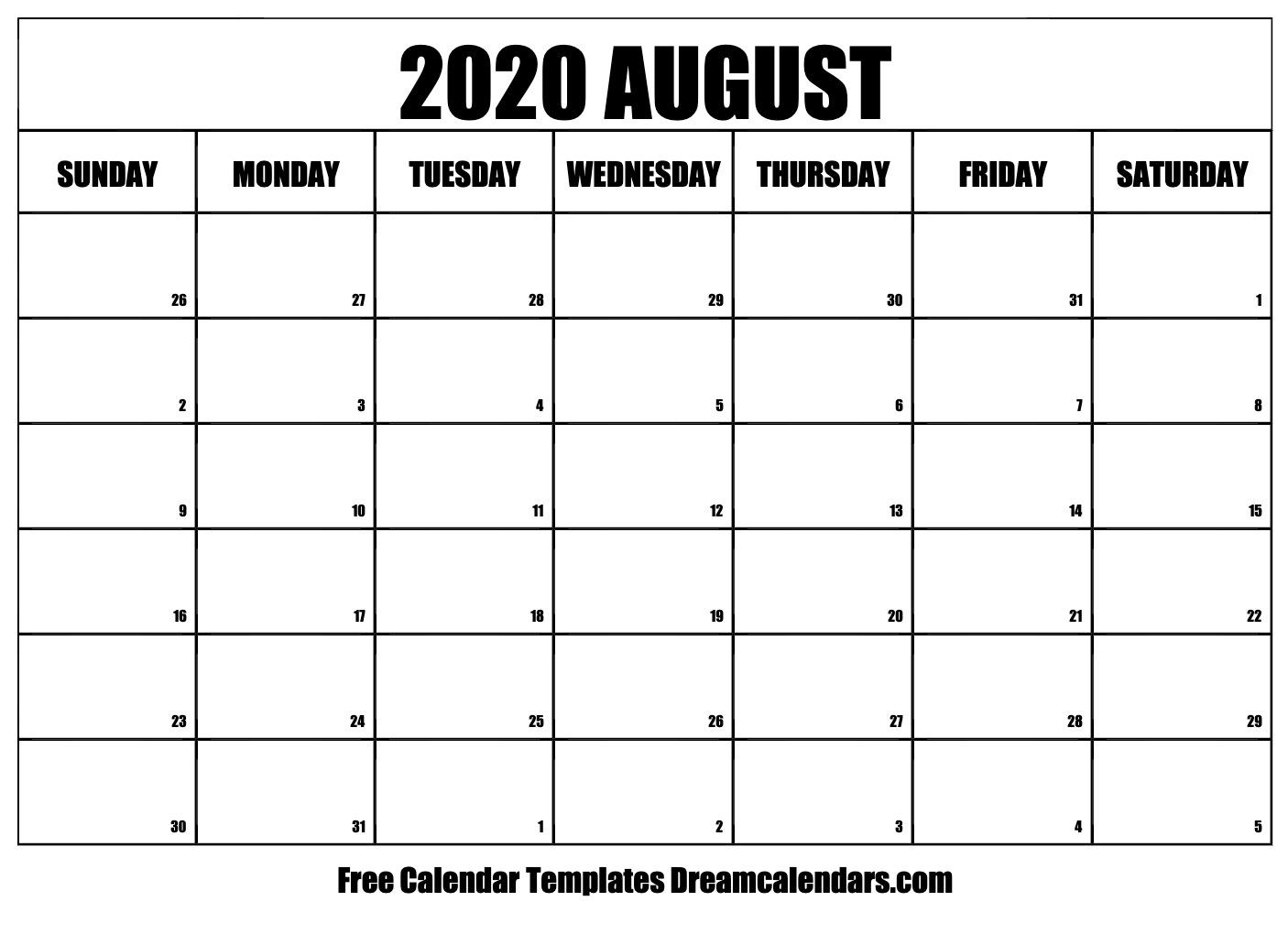 Aug 2020 Calendar Printable Printable August 2020 Calendar