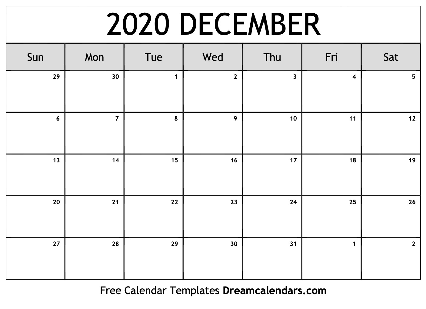 graphic relating to Calendar 2020 Printable titled December 2020 Calendar