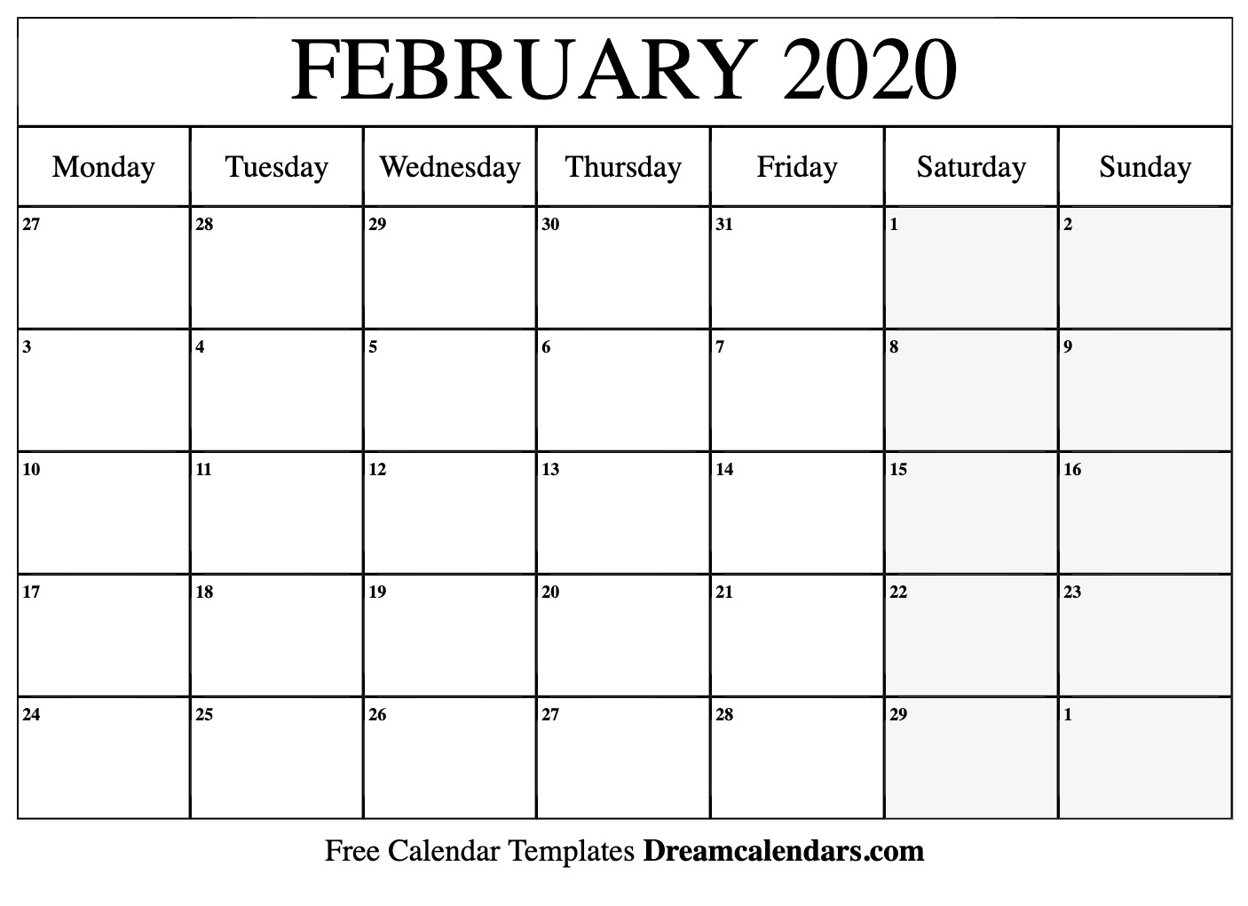 February 2020 Calendar Word Document Printable February 2020 Calendar