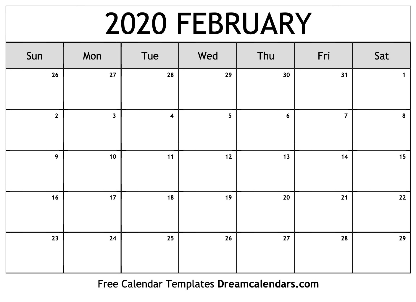 Calendar 2020 February To May Printable February 2020 Calendar