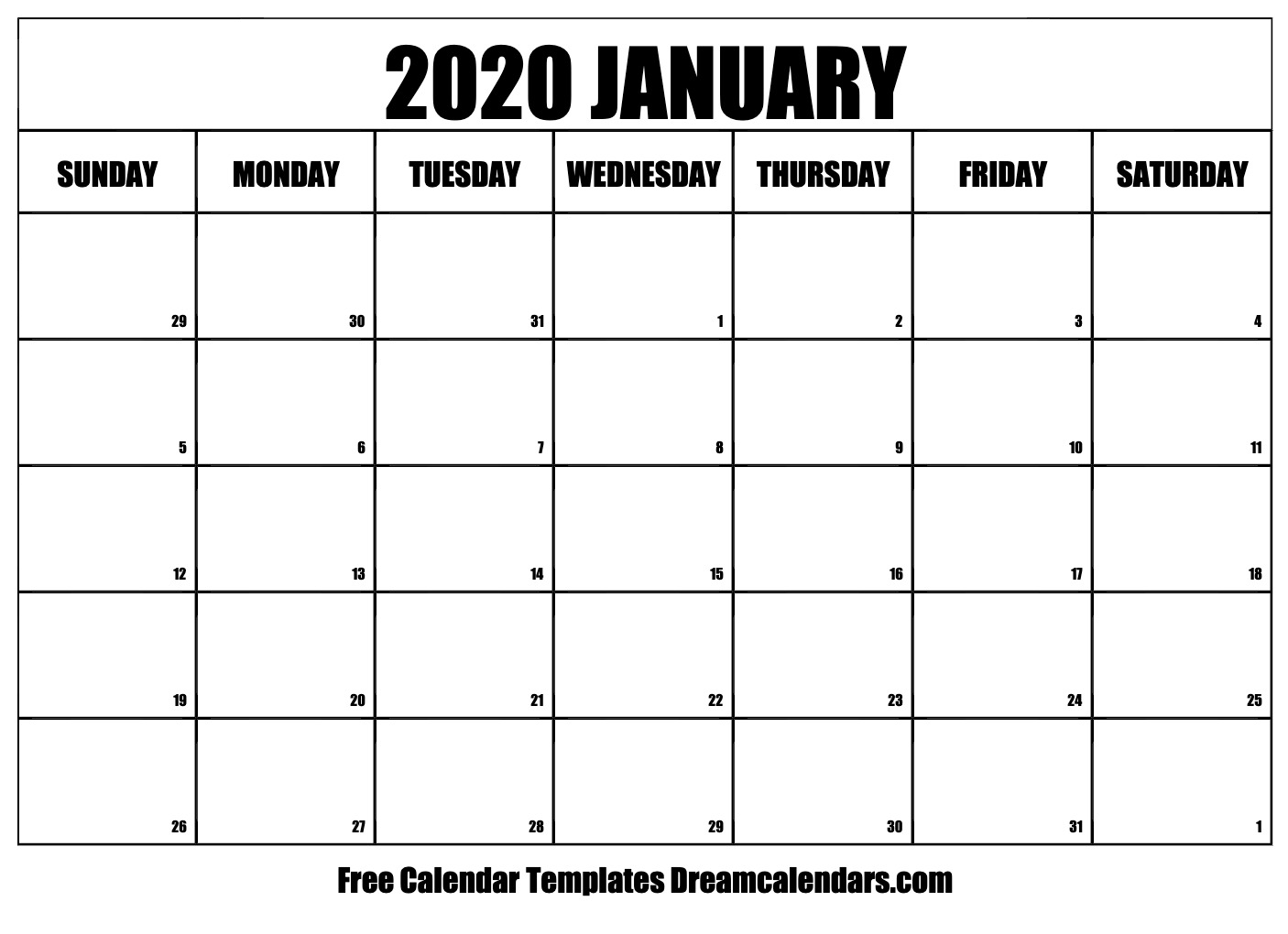 Free Printable 2020 Monthly Calendar.Printable January 2020 Calendar