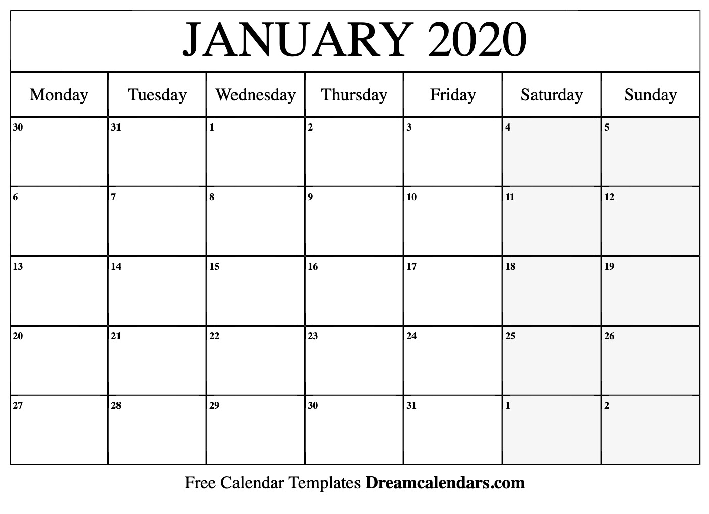 Excel January 2020 Calendar Printable January 2020 Calendar
