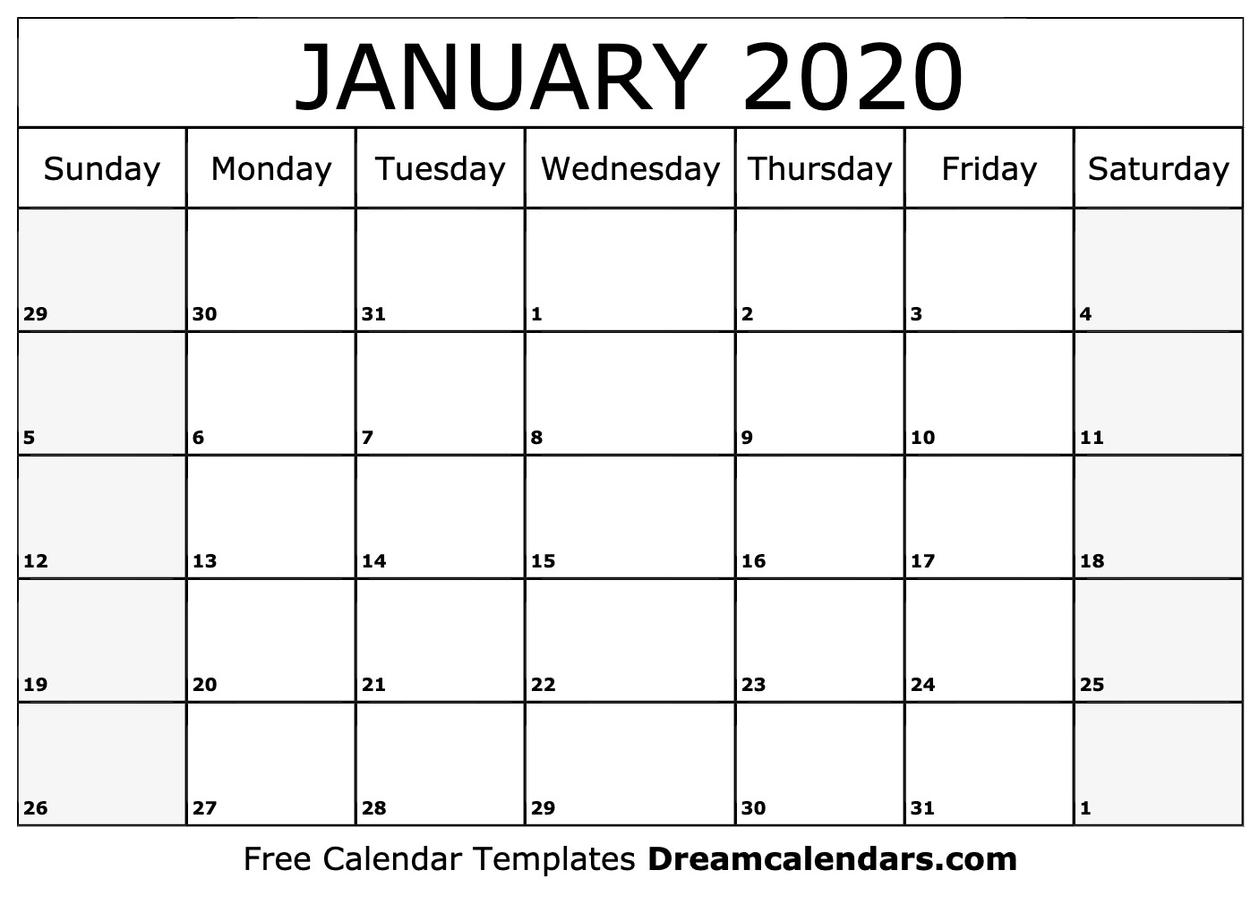 2020 Calendar For January Printable January 2020 Calendar