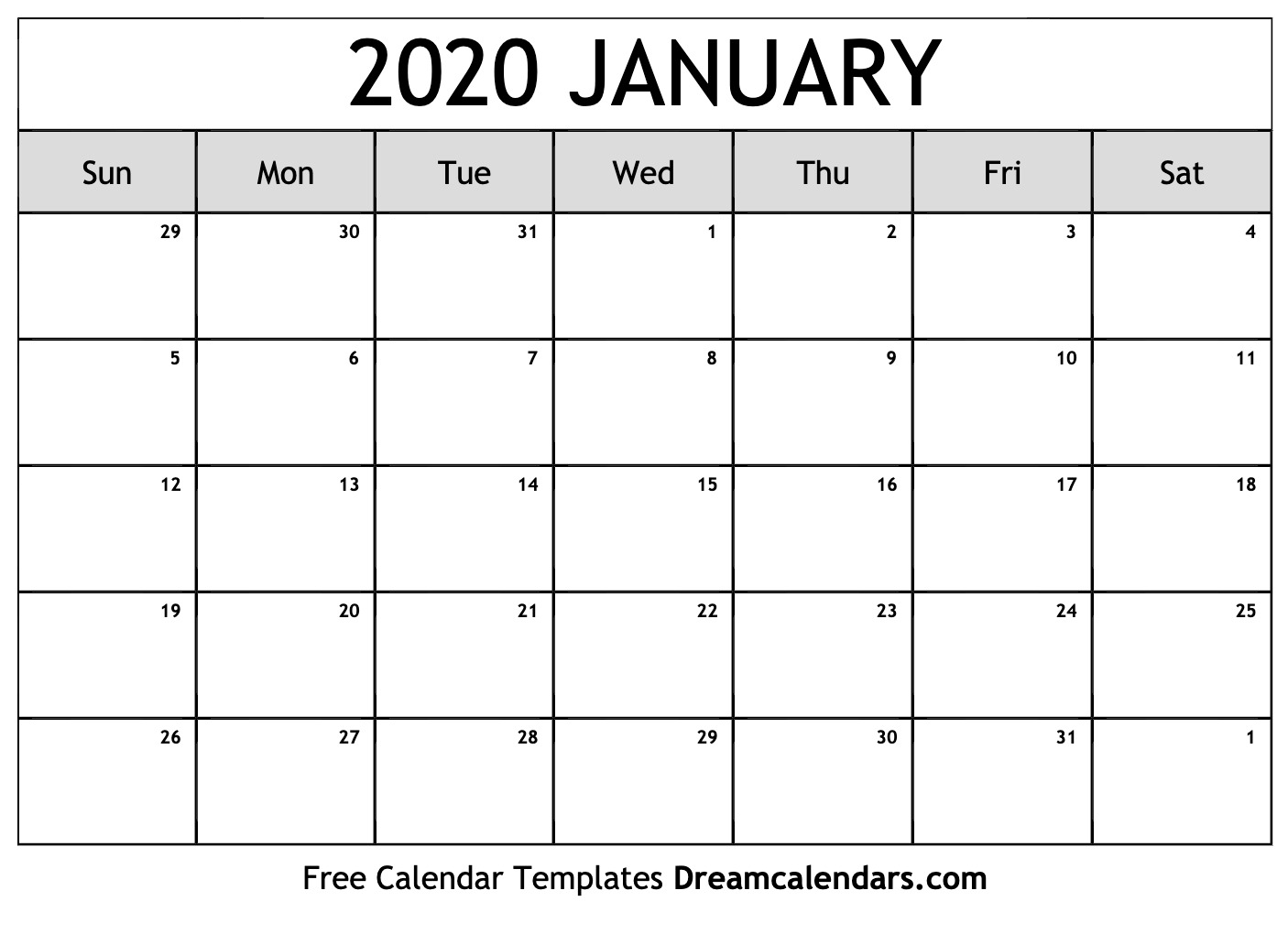 Calendar Jan 2020 Printable Printable January 2020 Calendar
