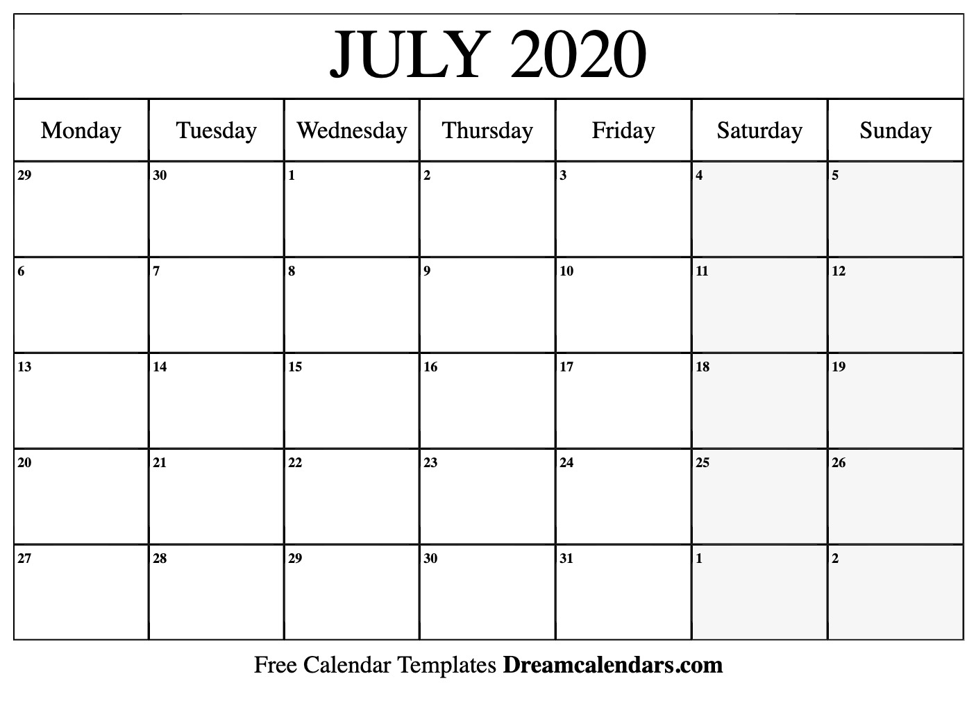 Calendar Of July 2020 Printable July 2020 Calendar