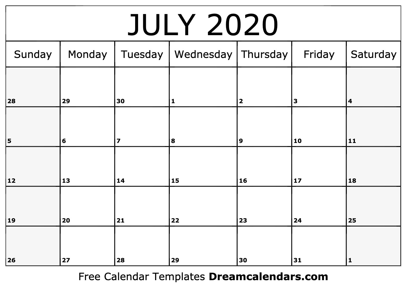 picture about Calendar for July Printable identify Printable July 2020 Calendar