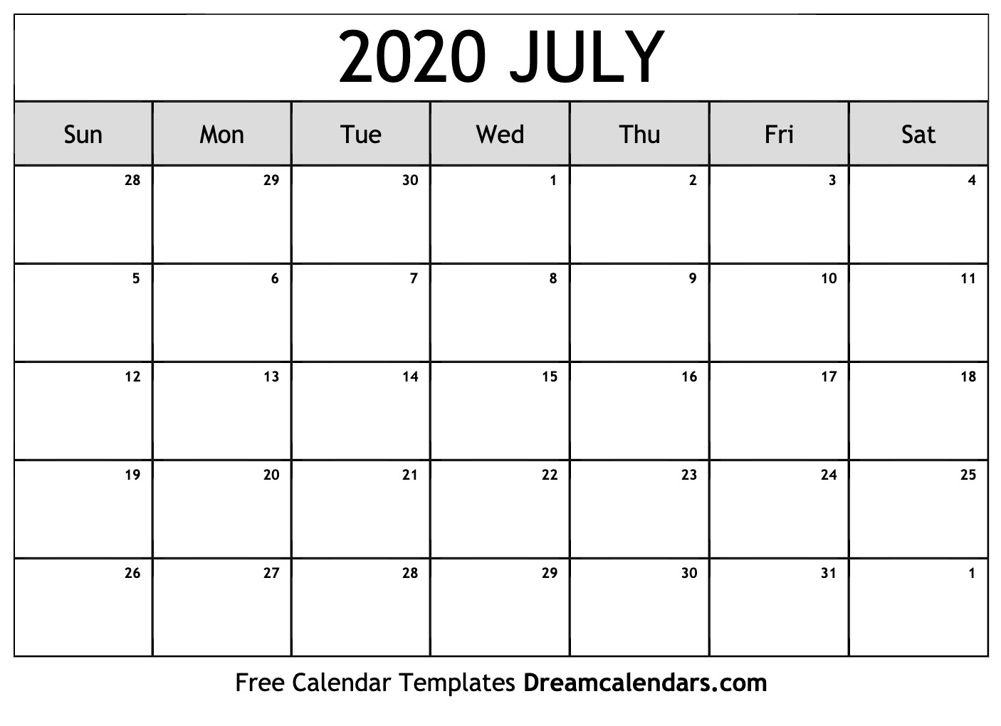 Printable Calendar For July 2020 Printable July 2020 Calendar