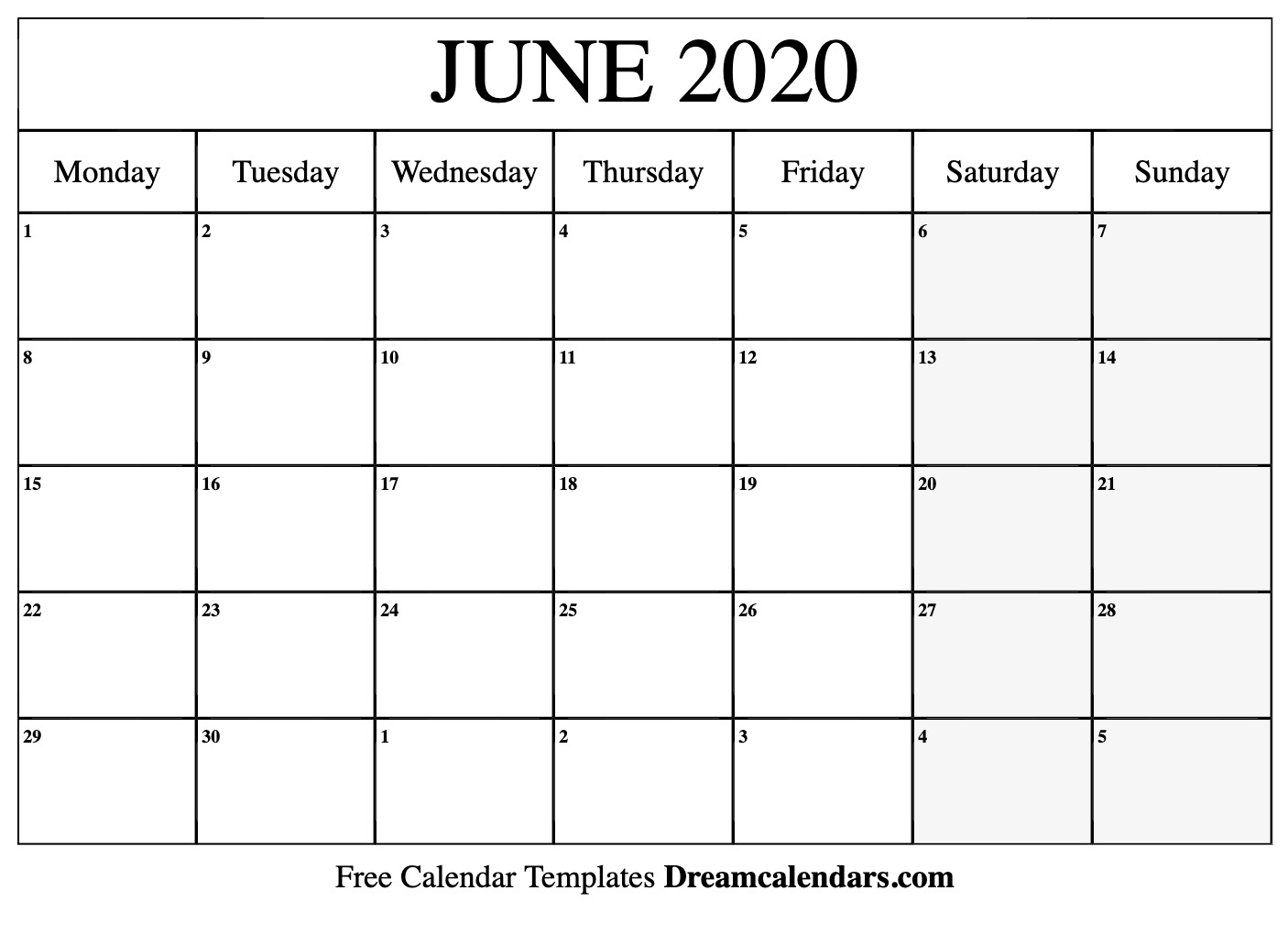 Calendar For June 2020 Printable June 2020 Calendar