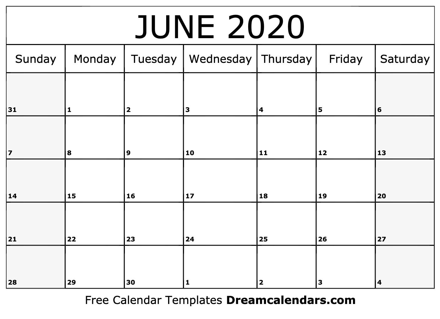 June 2019 To June 2020 Calendar Printable.Printable June 2020 Calendar
