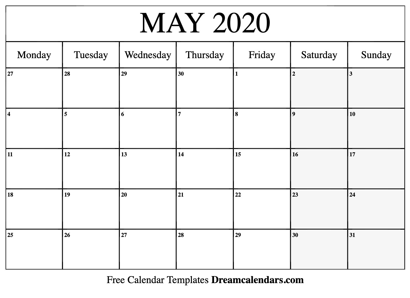 Calendar For 2020 May Printable May 2020 Calendar
