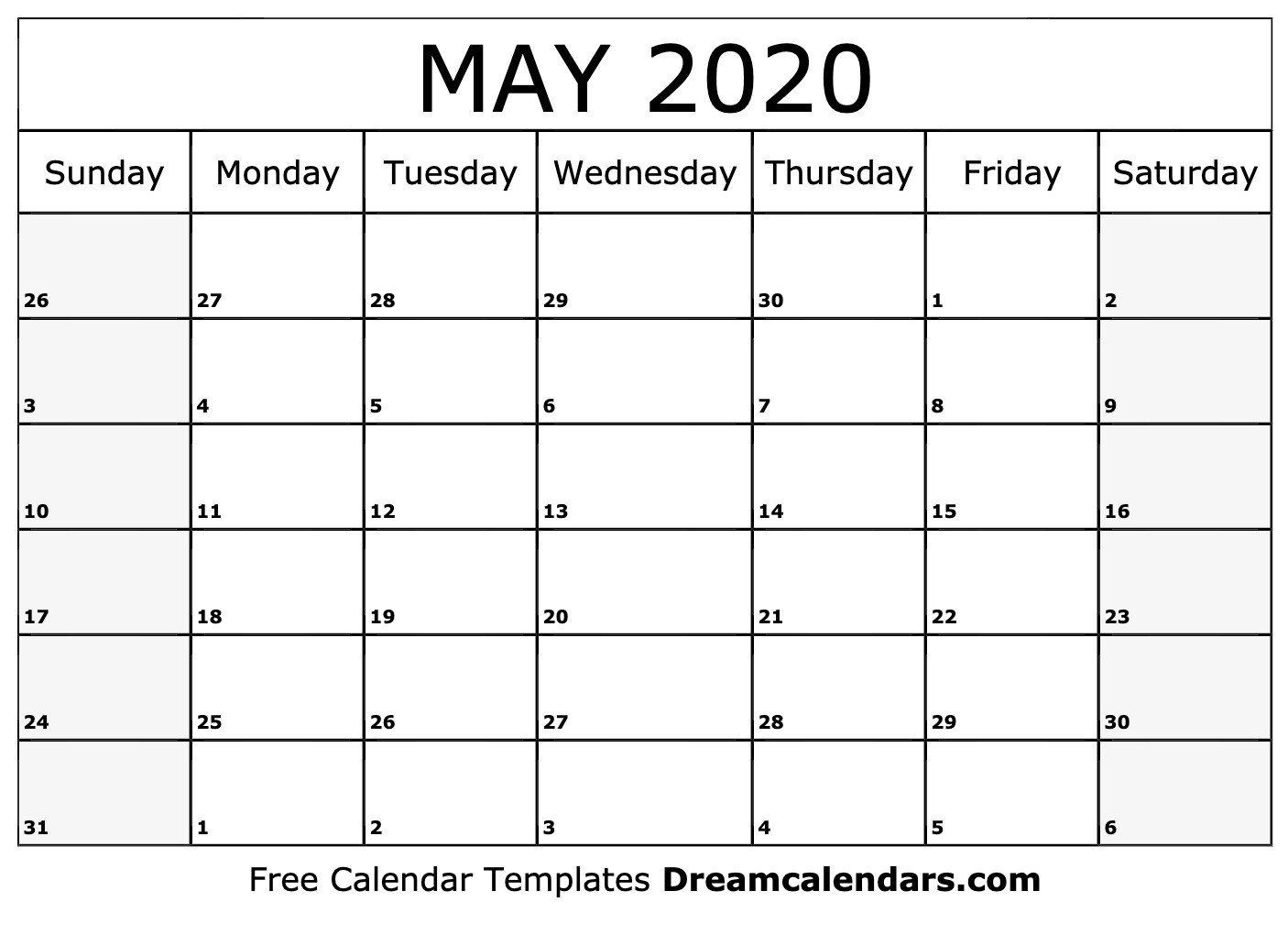 May Calendar 2020 Printable Printable May 2020 Calendar