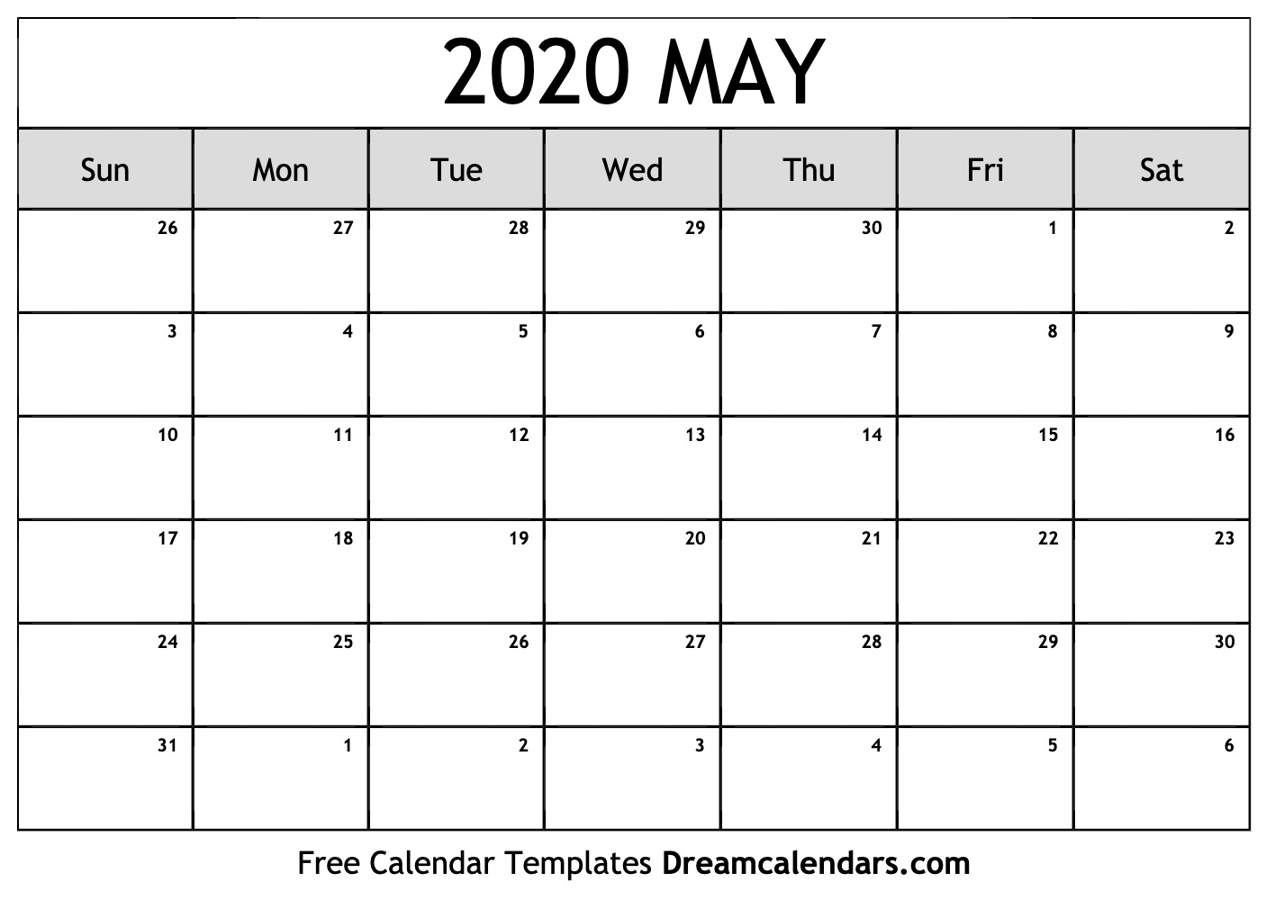 picture relating to Printable Calendar 2020 named May perhaps 2020 Calendar