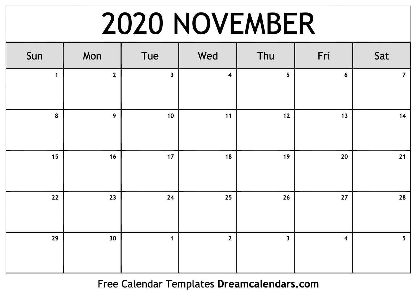 Calendar For Nov 2020 Printable November 2020 Calendar