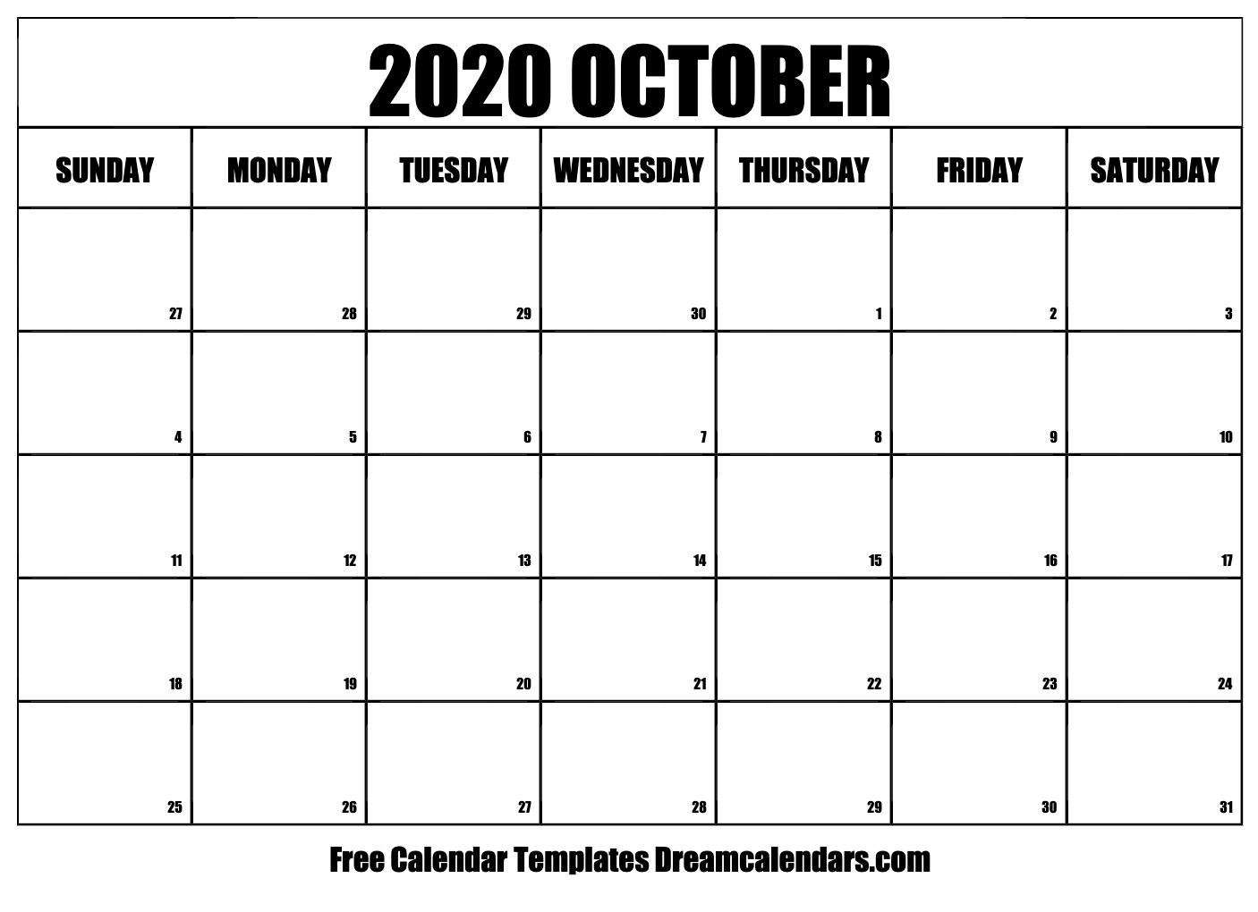 2020 Oct Calendar Printable October 2020 Calendar