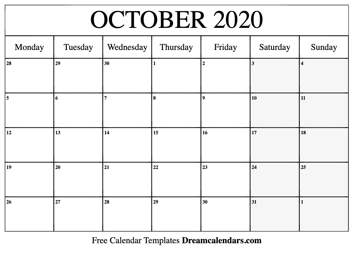 image about Printable Oct Calendar called Printable Oct 2020 Calendar