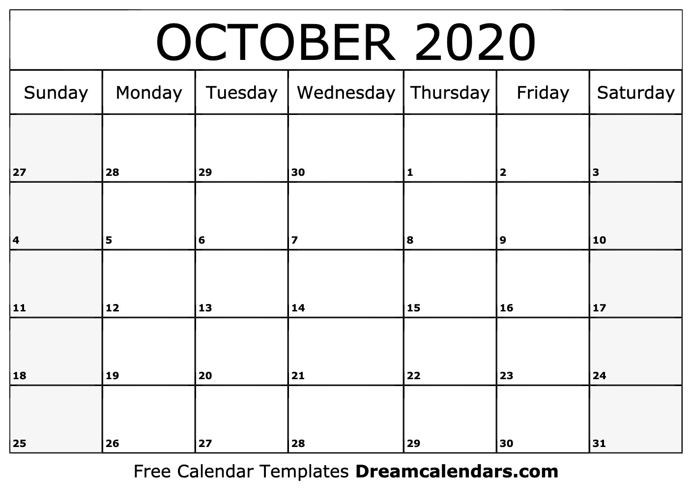 Oct Calendar 2020 Printable Printable October 2020 Calendar
