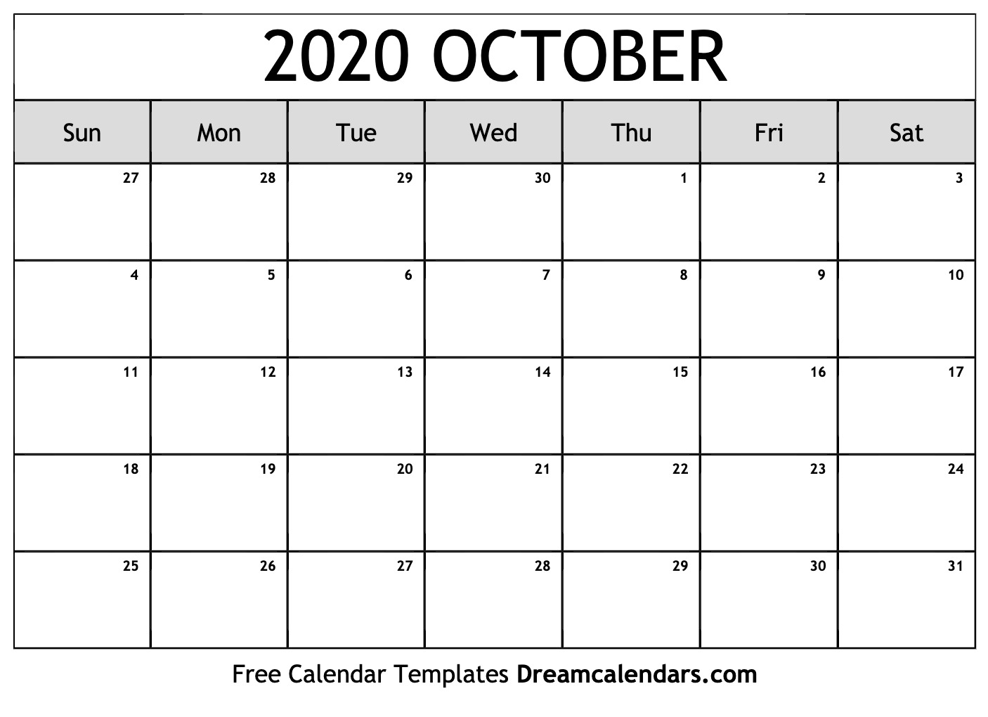 It is a graphic of Shocking October 2020 Printable