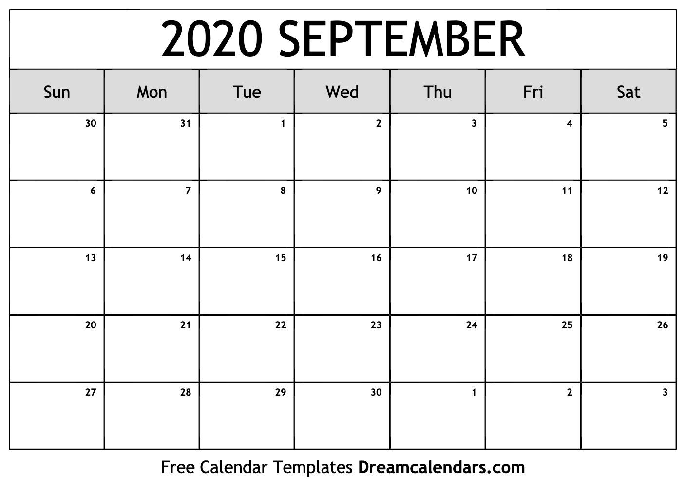 September 2020 Calendar Printable September 2020 Calendar