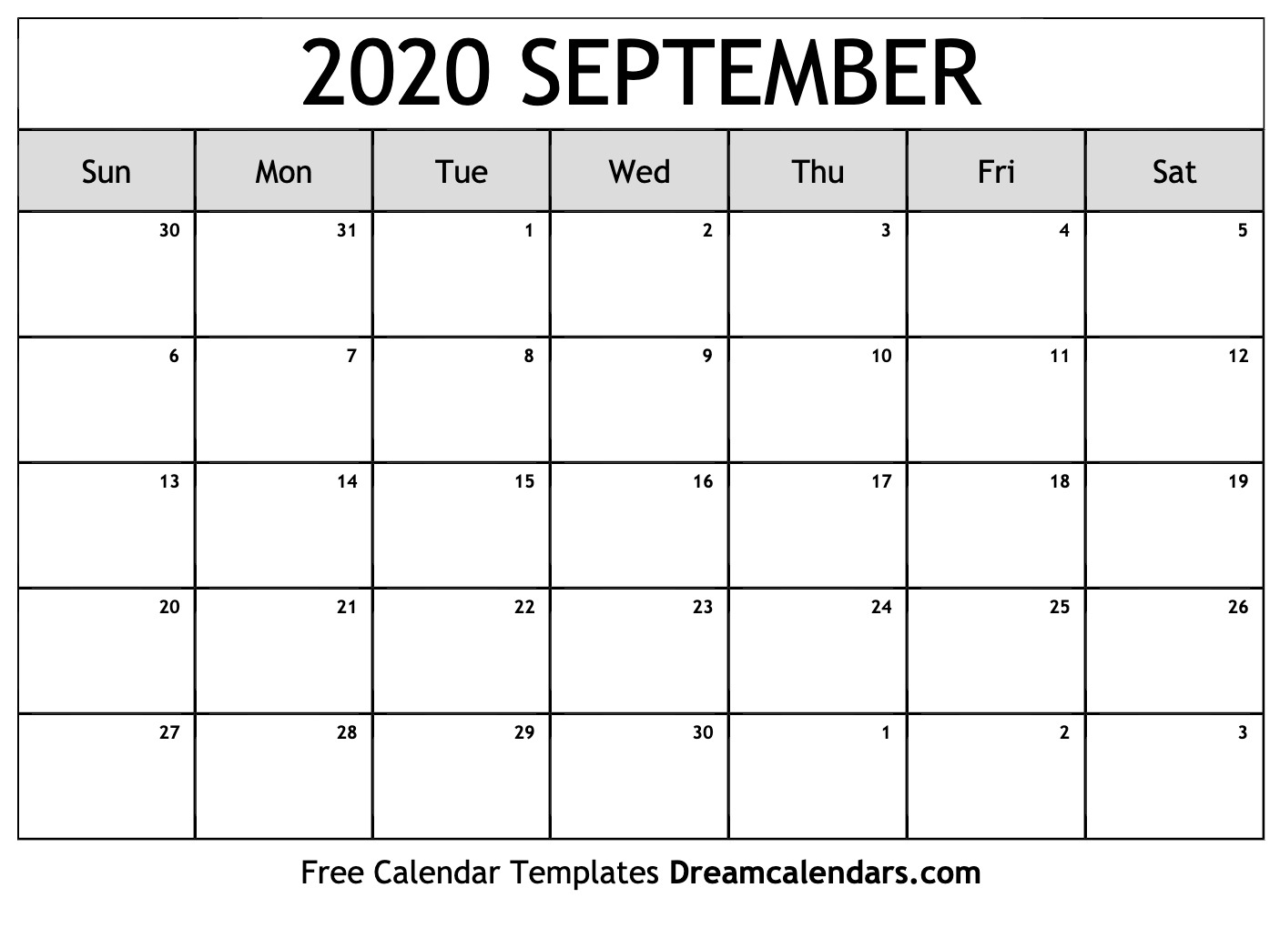 September 2020 Calendar Printable Printable September 2020 Calendar