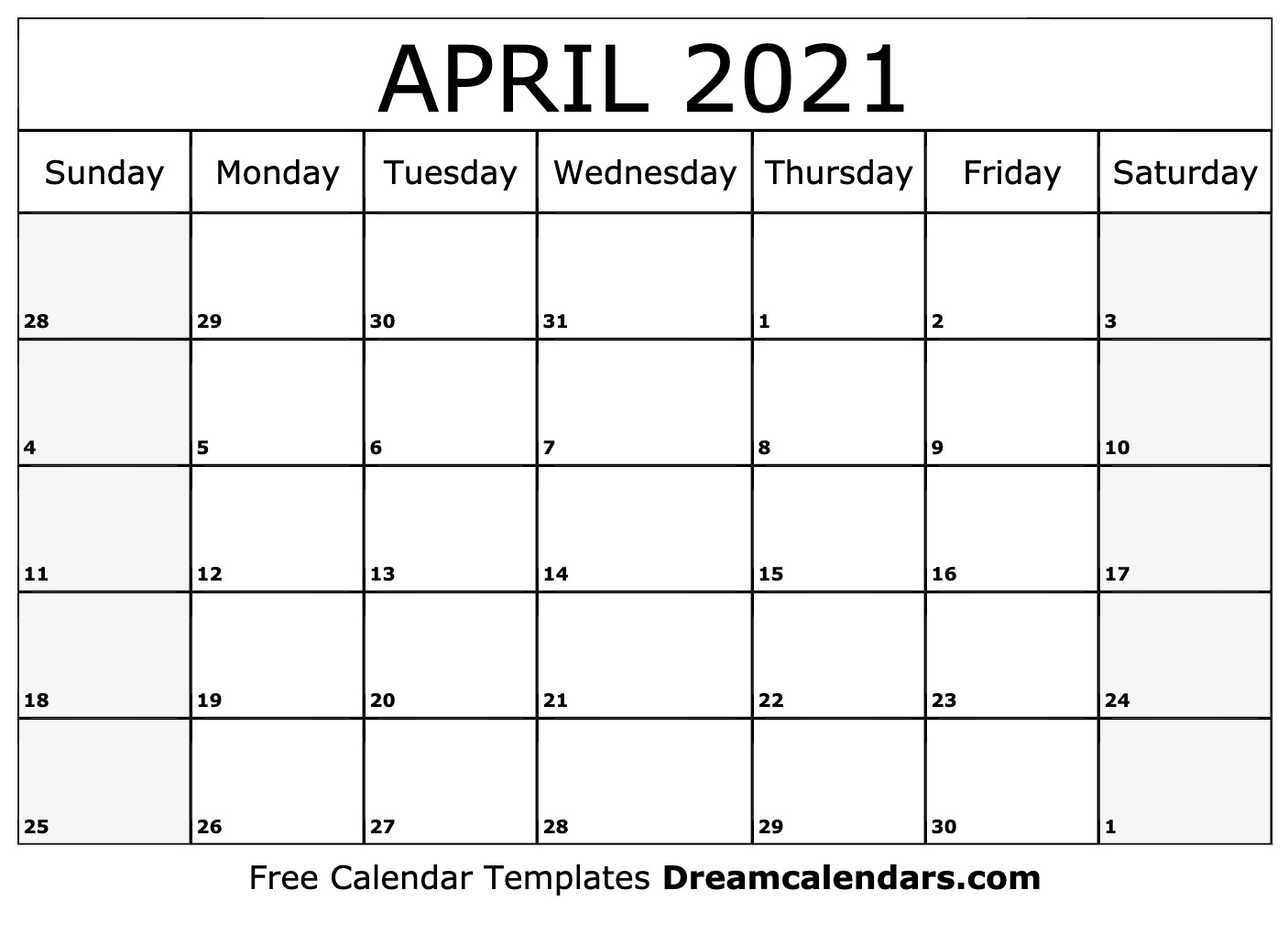 April 2021 calendar | free blank printable templates