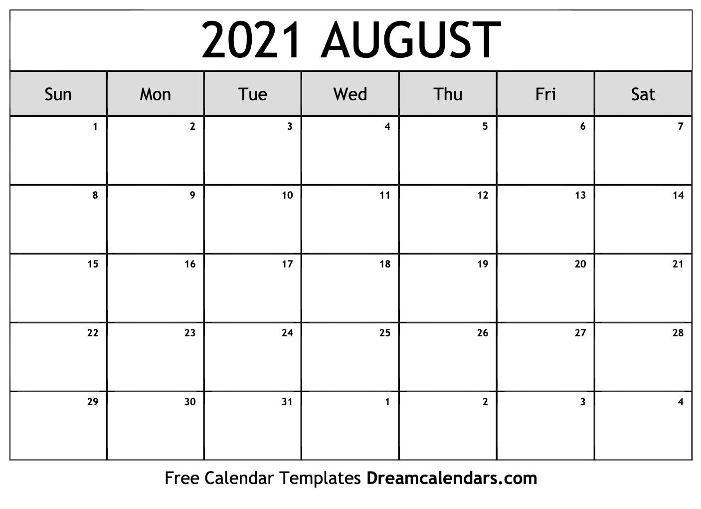 Photos of Calendar August 2021 Template