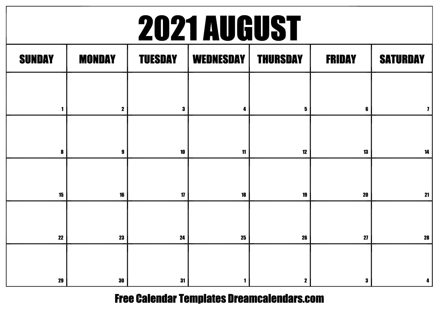 August 2021 calendar   free blank printable templates
