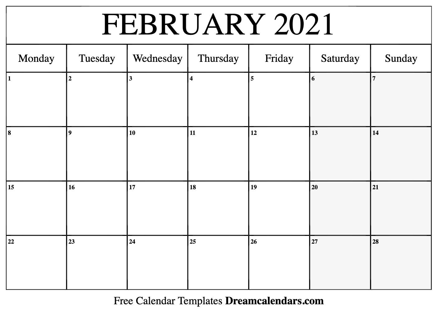 Calendar Feb 2022 Printable.February 2021 Calendar Free Blank Printable Templates