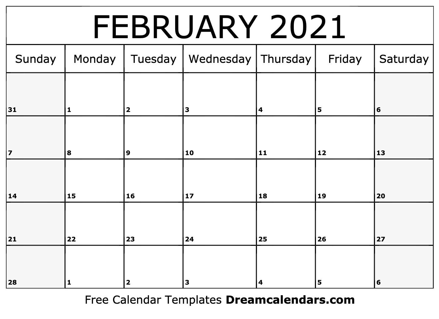 February 2021 calendar | free blank printable templates