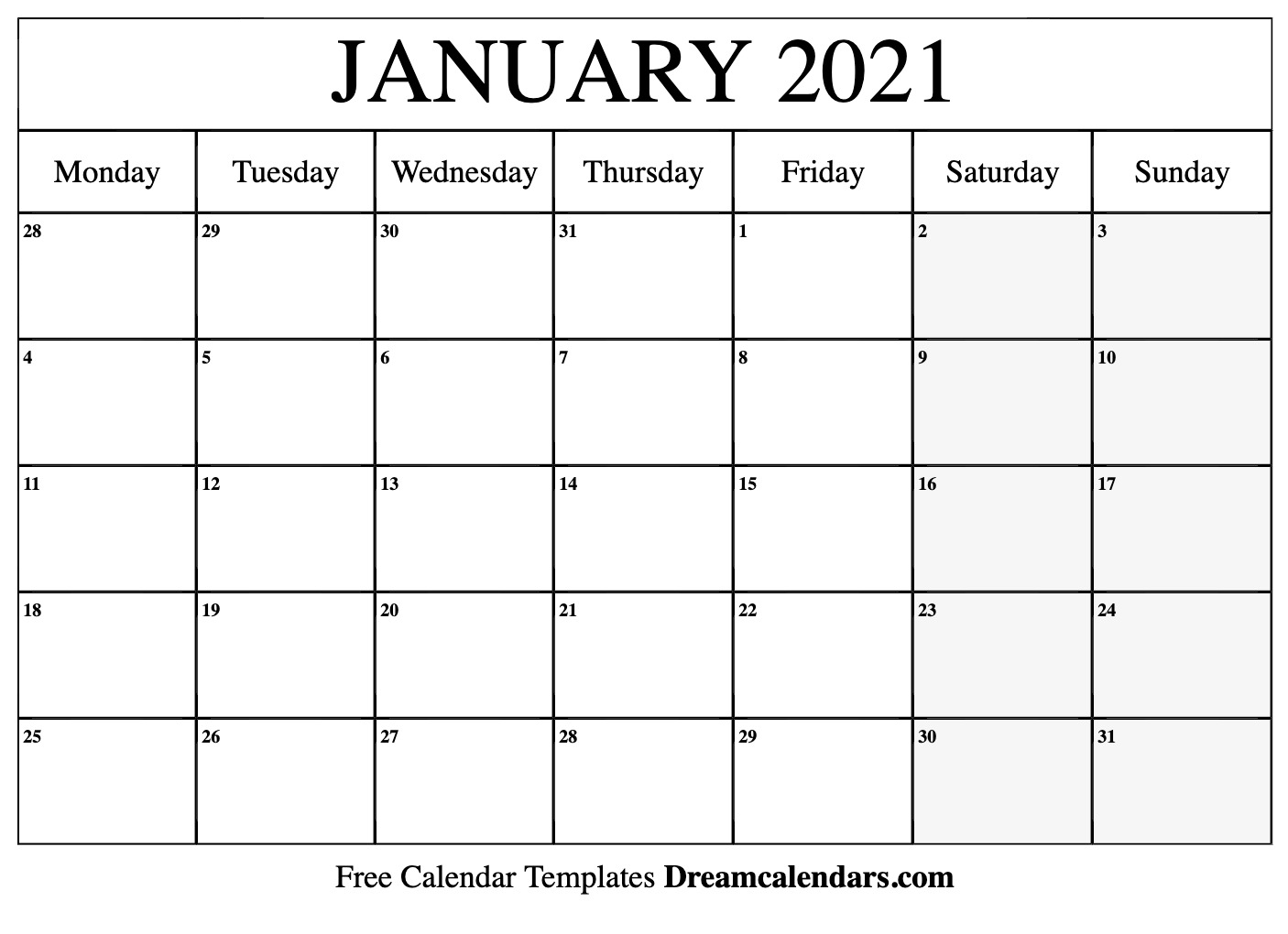 graphic relating to Calendar January Printable identify Printable January 2021 Calendar
