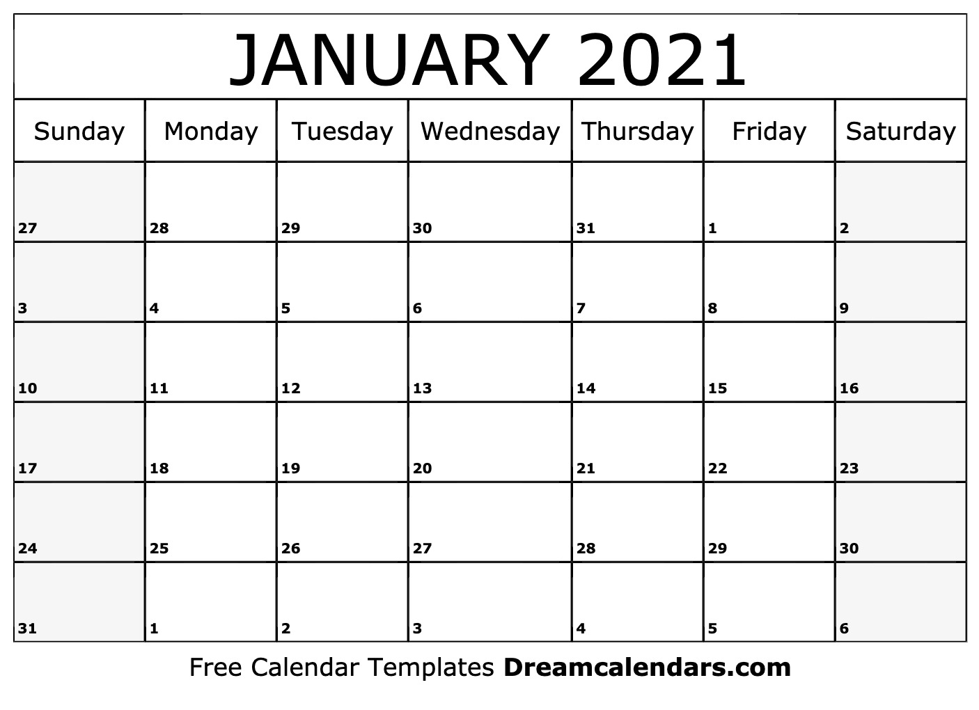 January 2021 calendar | free blank printable templates